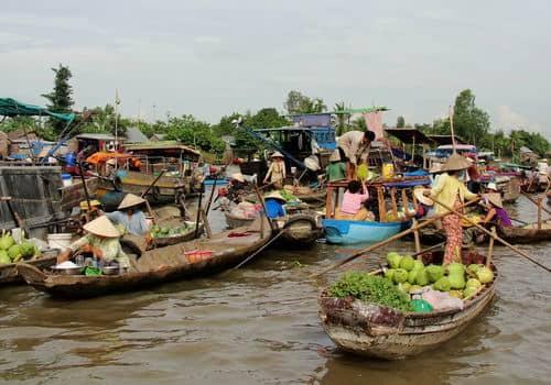 メコン川水上マーケットの景色